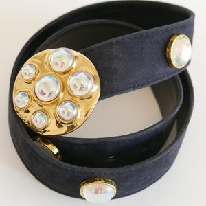 ESCADA Belt in Suede w/ Gold Toned Gem Buckle
